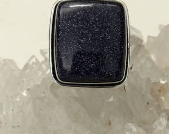 Blue Sandstone Ring Size 7 1/2