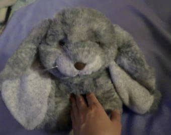 """Purrfection plush MCJ Bunny Rabbit plush Gray white blends 19"""" made in 1992 Easter Hops large feet"""