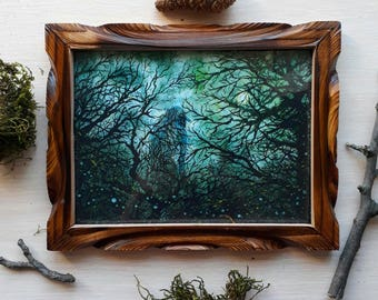 Leshy watercolor painting fantasy art print in a wooden frame.Horror picture, forest, trees and moon.Collectable wall art,Harry Potter