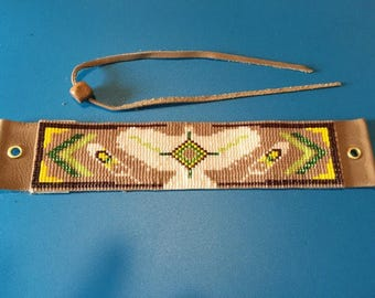 NEW COLORS!! Hawk Totem, Native American Inspired, Brown, White, Green, and Yellow, Loom Beaded, Handwoven, Bracelet with Leather Back