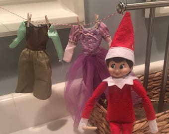 Elf on the shelf, elf on the shelf accessories , elf clothes line with  wood clips