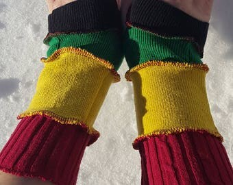 Upcycled Rasta armwarmers fingerless gloves arm warmers