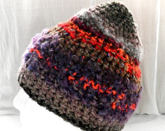 Peaked Pixie Crochet Beanie in Grey and Brown with Purple Orange Red Highlights  Size M / L  Fairy Festival Magic