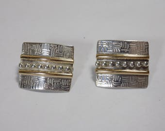 Sterling silver and gold inlay clip on earrings