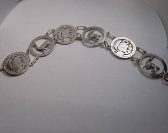 Sterling silver Peruvian coin and Llama bracelet size 7 1/2