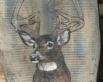 Rustic wood deer art