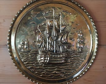 Brass Circular Ship Wall Hanging Duo