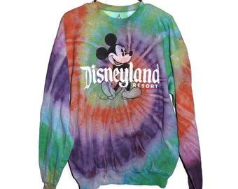 Handmade Tie Dye Rainbow Disneyland Sweater