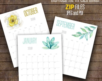 "2017 and 2018 Wall Calendar, Printable Watercolor flowers calendar, 8"" x 10"" Each month, A101"
