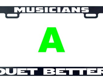 Musicians duet better music license plate frame tag holder decal sticker
