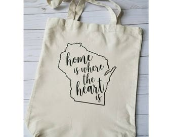Custom State Reuseable Market Bag Tote / Home Is Where The Heart Is