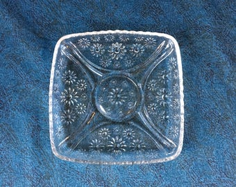 Vintage Pressed Glass Square Daisy Plate, Trinket Dish, Change Tray