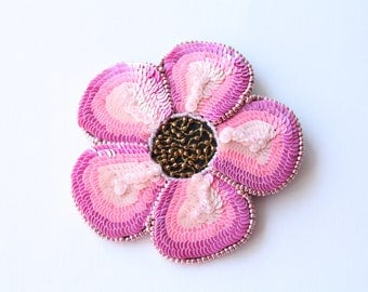 Handmade pink flower brooch of beads/sequins/gift for her/mother's day