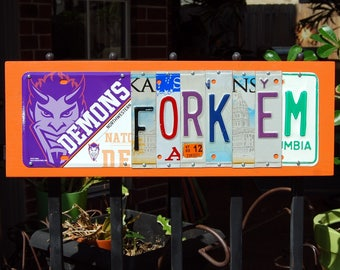 FORK'EM logo- Northwestern State - custom made License Plate sign, tailgate, graduation gift, alumni