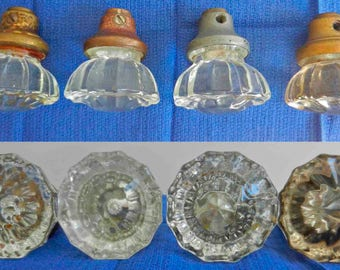 Group of 6 Vintage Clear Glass Doorknobs