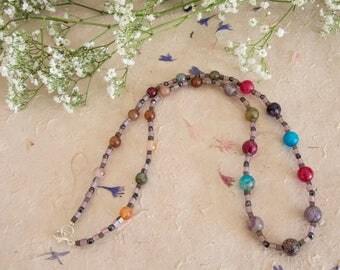 Multi Coloured Faceted Gemstone Bead Necklace