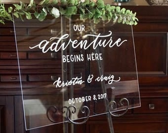 Acrylic wedding sign etsy acrylic welcome hand lettered wedding sign event sign customizable unplugged ceremony menu junglespirit Images