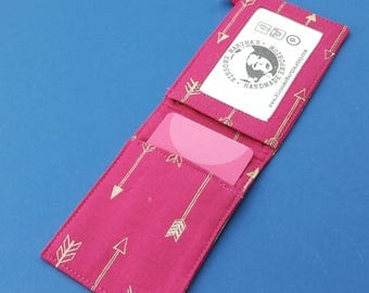 Hot Pink and gold wallet, credit card and business card holder