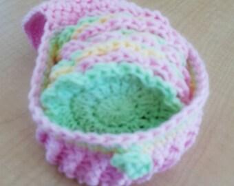 Face Scrubbies - Crochet Scrubbie - 12 Scrubbies & Holder - Spa Set - Face Cloth - Crochet Bath Set - Pamper Yourself - Cotton Face Pads