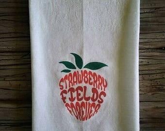 Strawberry Flour Sack Kitchen Towel