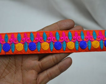 Orange Embroidered Fabric Trim and embellishments Indian Laces Sari Border Trim By 2 Yard Sewing Craft Ribbon Trimmings Saree Trims