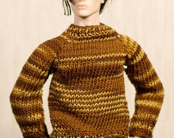 Ken sweater Handmade knitted sweater for Ken dolls, Fashion Royalty and other male dolls with similar body size.