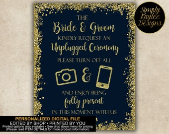 Navy and Gold Unplugged Wedding Ceremony Sign