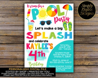 Summer Pool Party Birthday Invitation