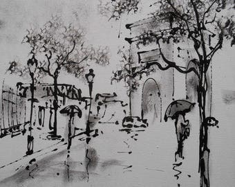 Painting black and white Paris Arc de triomphe in the rain  paintingacrylic