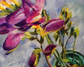 the bright side // original oil painting // original flower painting // freesia // freesia art // freesia painting // purple flower art