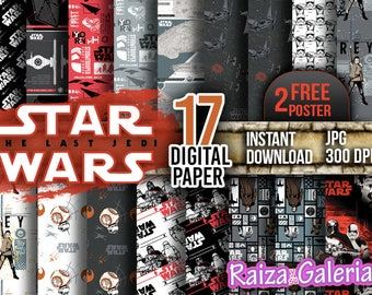AWESOME Star Wars The Last Jedi Digital Paper. Instant Download - Scrapbooking - STAR WARS Printable Paper Craft!