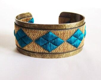 Brass and dark turquoise diamond Ribbon Cuff Bracelet