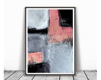 Digital Print, contemporary art, rustic home decor, wall art abstract, digital image, gray, black and pink abstract,  minimalism art