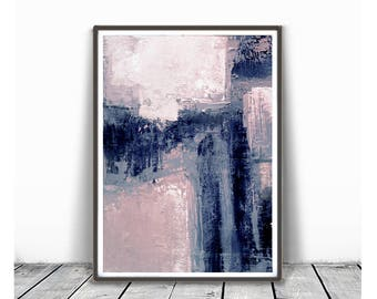 Printable Art,  Art Poster, Digital Download, Wall Decor, navy blue and white, modern abstract, scandinavian design, pink, blush pink ,grey