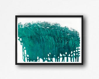 Printable Art,  Art Poster, Digital Download, Wall Decor, teal and white, modern abstract, scandinavian art, horizontal abstract, turqoise