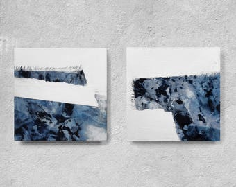 Original  Art Abstract Painting, Contemporary Wall Art, Modern Art Painting, navy blue and white, blue and white, set of 2, square abstract