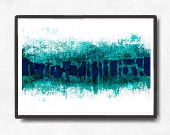 Printable Art,  Art Poster, Digital Download, Wall Decor, teal and white, modern abstract, scandinavian art, horizontal abstract, turqoise