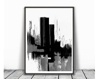 Digital Print, contemporary art, modern home decor, wall abstract, digital image, gray, black and white abstract,  minimalism art, ink art