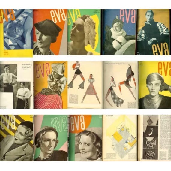 Eva, 1933-1934. Bound set of 22 copies of the scarce Czech avant-garde fashion magazine.