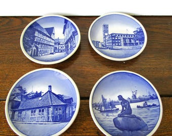 Royal Copenhagen Mini Wall Plates Set of 4 Blue White Wall Plates 2010 Series Denmark Vintage 1960s Collectible Gift Idea
