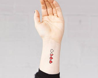 Pixel Hearts - Temporary Tattoos // Cute // Classic // Books // Summer // Party