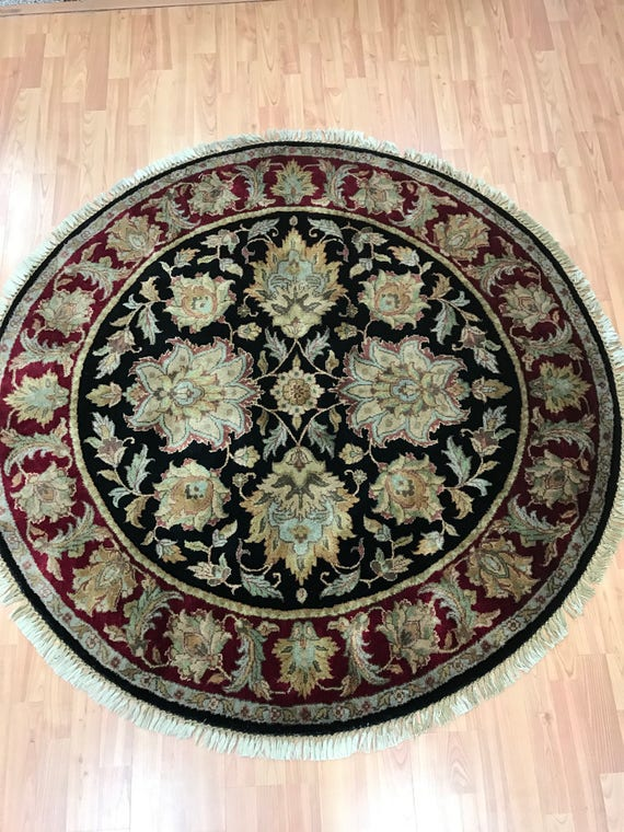 """5'1"""" x 5'1"""" Round Indian Agra Oriental Rug - Full Pile - Hand Made - 100% Wool"""