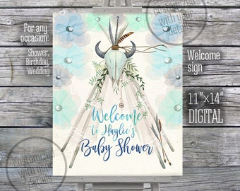 Welcome sign teepee boho baby shower watercolor bull skull blue navy turquoise feathers bohemian Customized by me 165CMPEX 113CMPEX 089CMPEX