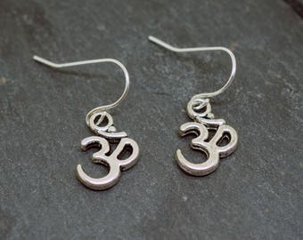 Silver Om / Aum Charm Earrings