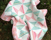 "Unicorn Toddler Quilt, 48"" X 38"", Michael Miller Sarah Jane Magic Metallic fabrics, Mint Green and Coral Pink Toddler Girl Quilt,  OOAK"