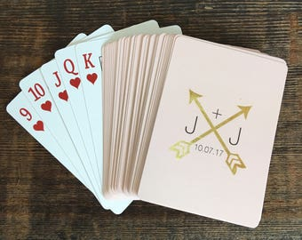 Personalized Pink And Gold Wedding Playing Cards Monogrammed Poker Custom Deck Of