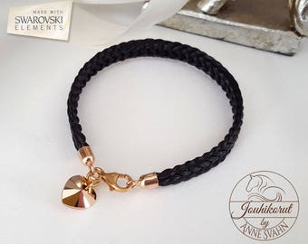 Horsehair bracelet with rosegold plated sterling silver findings and a Swarovski heart