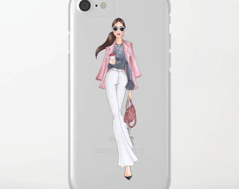 Clear Slim Case Urban chestnut girl  for iPhone, Samsung , LG, Huawei