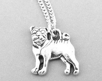 Pug Necklace, Pug Jewellery, Dog Necklace, Sterling Silver Pug Necklace, Pug Gifts, Animal Jewellery, Dog Gifts