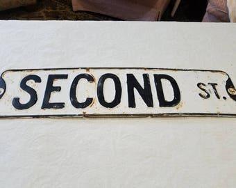 Vintage 1950's Second St sign. Gauge embossed steel. Metal. Street sign